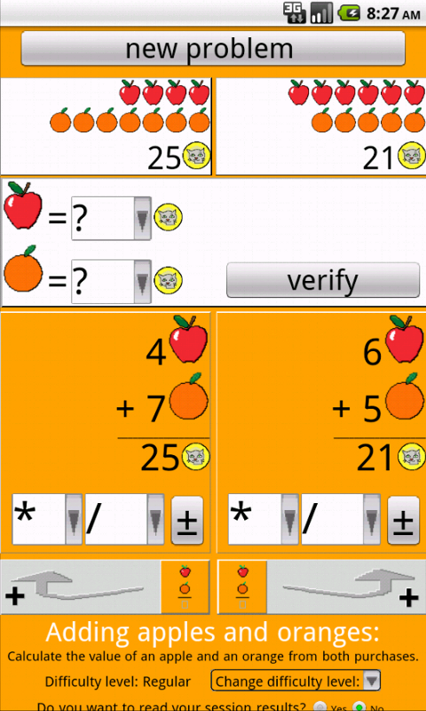 Adding apples and oranges- screenshot