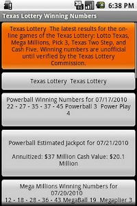 Texas Lottery Winning Numbers screenshot 0