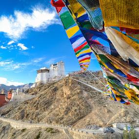 Prayers Flags to Tsemo by Dan FotoWorx - Landscapes Mountains & Hills ( mountains, faith, monastery, india, landscape )