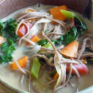 Creamy Miso Soup w/ Veggies, Greens & Soba Noodles