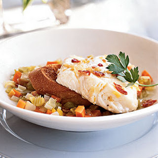 Poached Halibut with Warm Bacon Vinaigrette.
