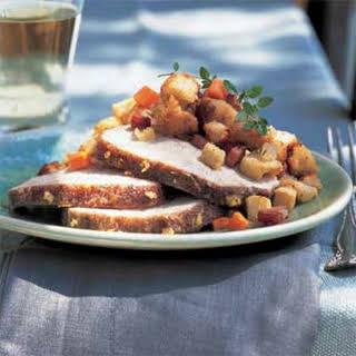 Apple-Glazed Pork Loin Roast with Apple-Ham Stuffing.