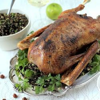 Roast Goose With Hazelnut, Apple And Wild Rice Stuffing.