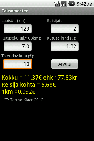 Taksomeeter- screenshot