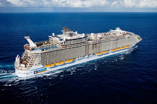 Allure-of-the-Seas-aerial - Allure of the Seas at sea. Fun fact: Though she was designed to the same specs as twin sister Oasis of the Seas, at 1,181 feet long she's actually 2 inches longer.