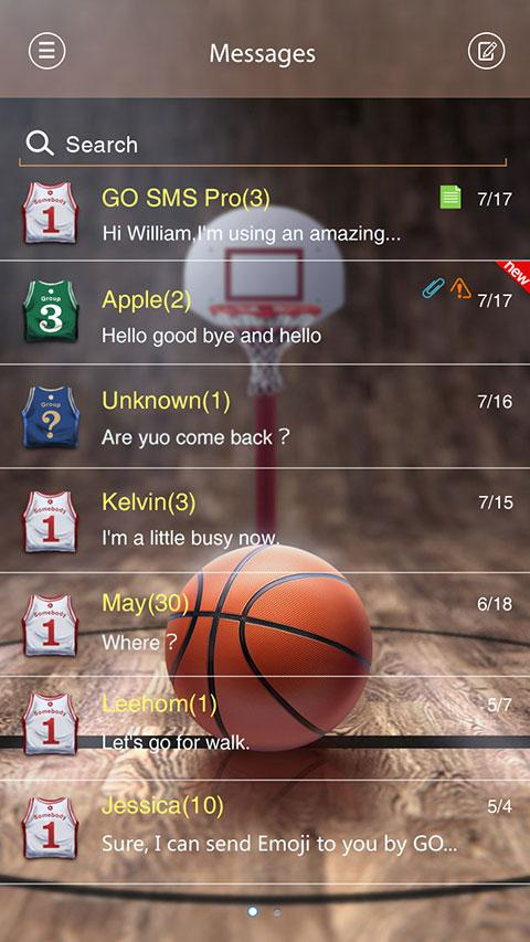 GO SMS PRO DUNK THEME - screenshot