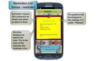 Screenshot of Nudnik Calendar Reminders