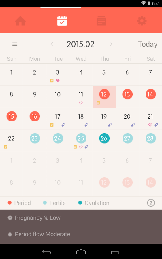 Once -A special period tracker - screenshot