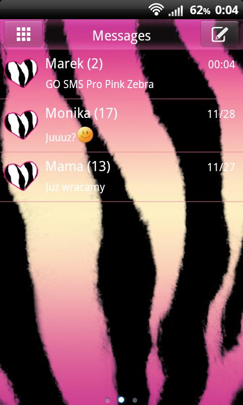 Pink Zebra Theme for GO SMS- screenshot
