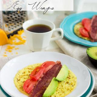 Egg Breakfast Wraps with Bacon, Avocado and Tomato.