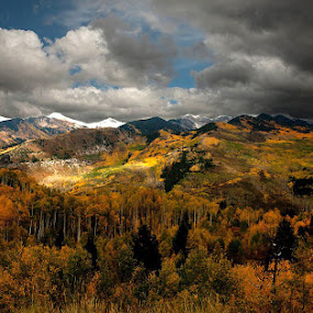 Lifting Storm by George Kremer - Landscapes Mountains & Hills ( clouds, mountains, fall colors, changing trees, fall, snow, storm clouds, storm,  )