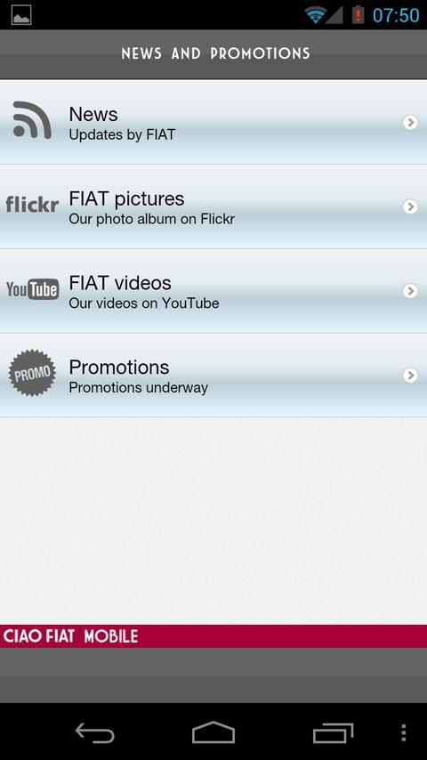 Ciao Fiat Mobile- screenshot