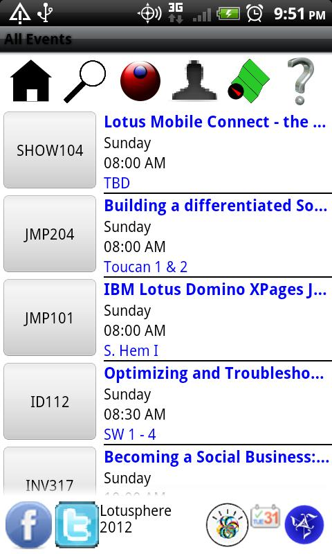Lotusphere 2012 Scheduler- screenshot