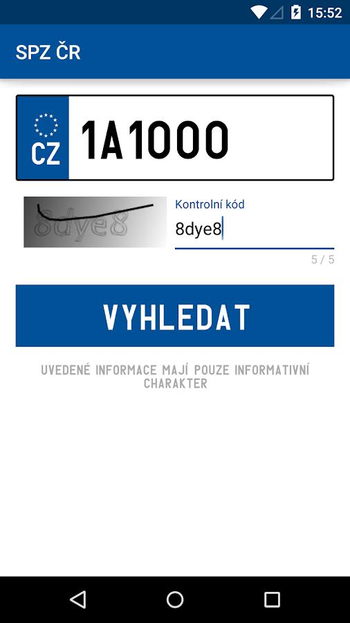 SPZ ČR - screenshot