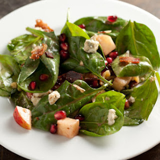 Spinach Pomegranate Salad with Apples and Walnuts.