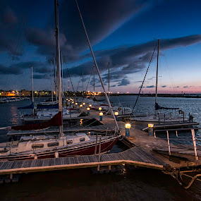 STARRY SAIL by Kris Rowlands - Transportation Boats ( sailboats, sunset, photography, nightscape )