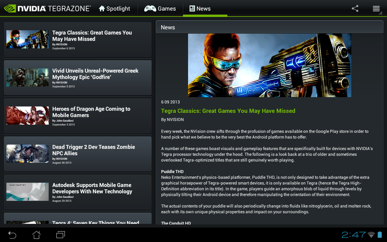 NVIDIA TegraZone 2 - screenshot