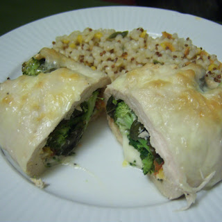 Spinaccomato Stuffed Chicken with Basil and Cheeses.