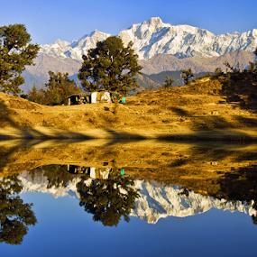 reflection by Soumen  Basu Mallick - Landscapes Mountains & Hills ( reflection, mountain, snow, lake, landscape, himalayas, peaks )