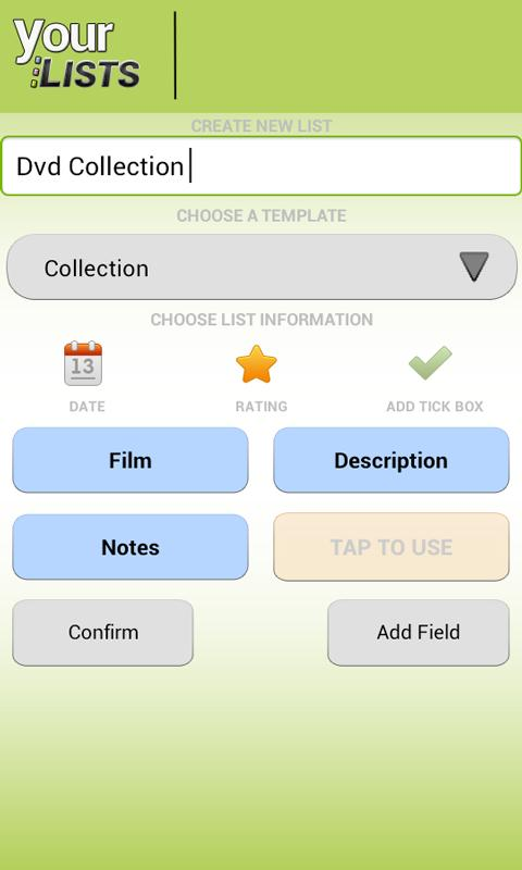 Your Task | Custom Lists Lite - screenshot