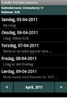 Screenshot of Familie Portalen Kalender