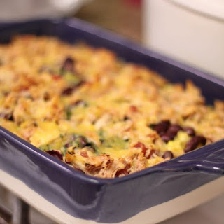 Layered Mexican Chicken Rice Bake.