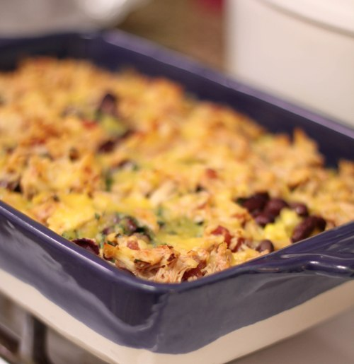 Layered Mexican Chicken Rice Bake Recipe