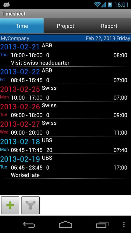 Timesheet - screenshot