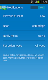 Clarityn's UK pollen forecast- screenshot thumbnail