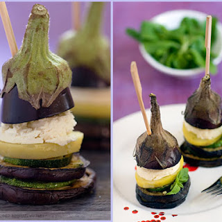 Eggplant, Zucchini, Potato and Cheese Millefeuilles