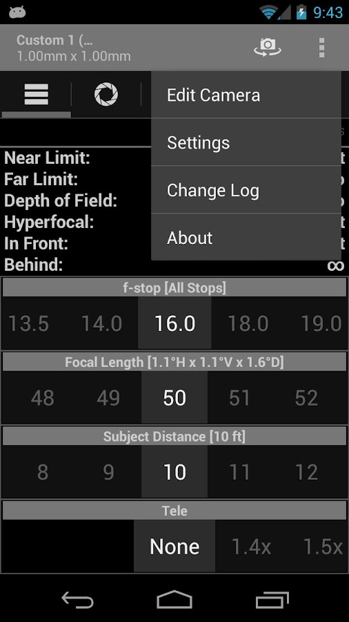 DOF and Hyperfocal Calculator - screenshot