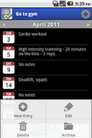 Screenshot of Activity Log