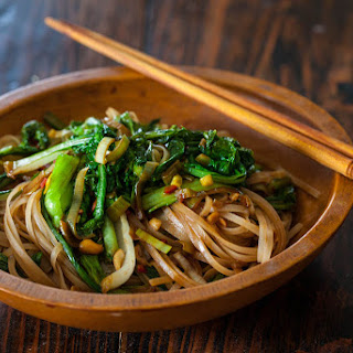 Satay Noodles and Greens.