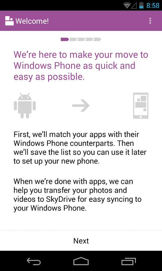 Switch to Windows Phone - screenshot