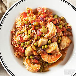 Spanish Rice with Chicken and Shrimp.