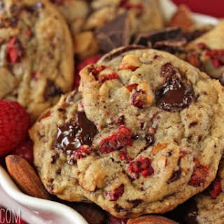 Raspberry Almond Chocolate Chunk Cookies.