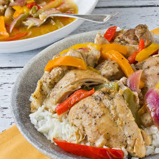 Braised Chicken Thighs with Bell Peppers and Onions.