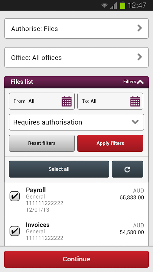 Westpac Corporate Mobile - screenshot