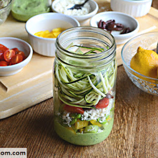 Mason Jar Zucchini Pasta Salad with Avocado Spinach Dressing.