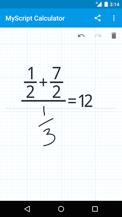 MyScript Calculator: captura de pantalla