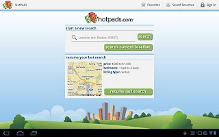 Screenshot of HotPads Rentals Tablet App