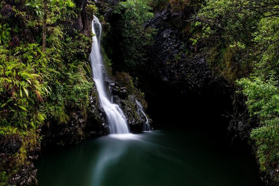 Hidden Falls by Eddie Tuggle - Landscapes Waterscapes ( hana, waterfall, hawaii, island )