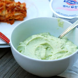Spicy Avocado Yogurt Dipping Sauce with FAGE Total.