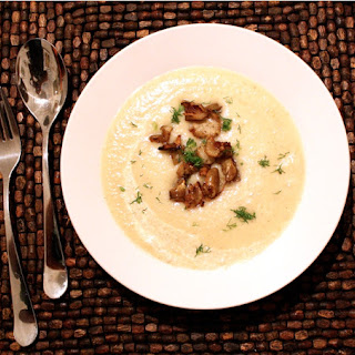 "Celeraic Soup with Sunchoke ""Croutons""."