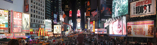 Panorama of Times Square in midtown Manhattan.