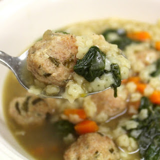 Crock Pot Italian Wedding Soup with Turkey Meatballs
