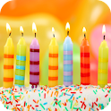 Birthday song, cake and candle icon