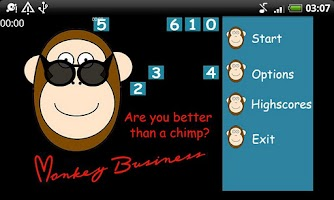 Screenshot of Monkey Business, a memory game