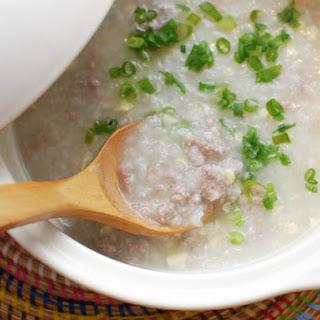Ground Pork and Corn Congee (Chinese Rice Porridge).