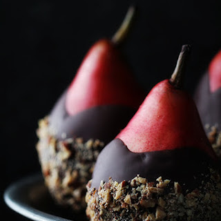 Chocolate Dip Pears with Almond Crunch.